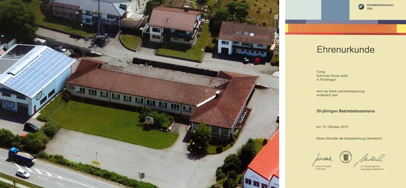 Luftbild SCHIRMER DRUCK OHG und Ehrenurkunde des 50-jährigen Betriebsbestehens